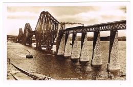 RB 1148 -  Real Photo Postcard - Steam Train Crossing Forth Road Bridge & Steam Ship - Midlothian/ Edinburgh