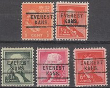 USA Precancel Vorausentwertung Preos Locals Kansas, Everest 812, 5 Diff.