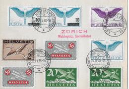 1938 CARTE POSTALE FLUGPOST → Super 6-fach Mischfrankatur ZÜRICH Walcheplatz Sechseläuten ►RRR◄ - Poste Aérienne