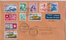 1939 SWISSAIR - EUROPAFLUG SÜD →Schw.Landesausstellung 1939 Schöne 10-fach Mischfrankatur - Poste Aérienne