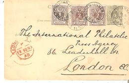 CP. 19 + TP.43-44(2) BERCHEM(Anvers) 9 Févr. 1893 V. LONDRES - Stamped Stationery