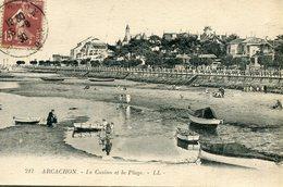 Arcachon Le Casino Et La Plage Circulee En 1930 - Arcachon
