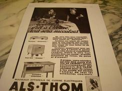 ANCIENNE PUBLICITE CUISINE ELECTRIQUE ALS.THOM 1934 - Publicité