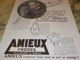 ANCIENNE PUBLICITE LE FER BLANC AMIEUX ET FRERES 1934 - Posters
