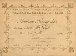 20 - 280317 - HAUTE CORSE - BASTIA Pensionnat Des Religieuses Saint Joseph - Mention Honorable Bon Point 3 Juillet 1904 - Bastia