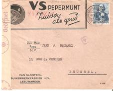 "G.40/45 N° 404 LEEUWARDEN 27/10/1943 S/Lettre Public. ""VS Pepermunt"" V. Bruxelles Censure De Cologne - Period 1891-1948 (Wilhelmina)"