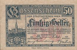 Austria - 50 HELLER Kassenschein Der Stadtgemeinde Wien Notgeld (2 Scans) - Oesterreich