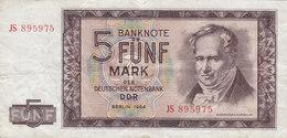 Germany - 5 MARK Deutschen Noten Bank Alexander V. Humboldt (1964) JS 895975 (2 Scans) - [ 6] 1949-1990 : RDA - Rep. Dem. Tedesca