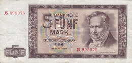 Germany - 5 MARK Deutschen Noten Bank Alexander V. Humboldt (1964) JS 895975 (2 Scans) - 5 Deutsche Mark