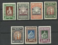 LITAUEN Lithuania 1933 = 7 Werte Aus Michel 364 - 371 A MNH (NB! Mi 365/10 C. Fehlt/missing!!) - Litauen