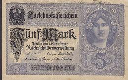 Germany - 5 MARK Darlehnskassenschein Reichsschuldenverwaltung (1.8.1917) X 13748576 (in Red) (2 Scans) - Deutschland