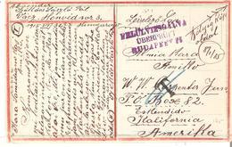 N° 111 Annulé Par Griffe Encadrée VACZ RU  S/CP.de BUDAPEST V. KALIFORNIA U.S.A.Censure 3L De BUDAPEST - Ungarn