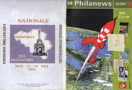 BELGIQUE Magazine PHILANEWS Février 2004 Nouveautés Poste Belge Tintin Kuifje Hergé Lune Moon Fusée Rocket Bédé - Comics