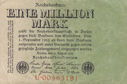 Germany - 1.000.000 MARK Reichsbanknote Berlin (9.8.1923) U 00563191 (2 Scans) - 1918-1933: Weimarer Republik
