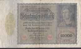 Germany - 10.000 MARK Reichsbanknote Berlin (19-1-1922) E 593341 (2 Scans) - [ 3] 1918-1933: Weimarrepubliek