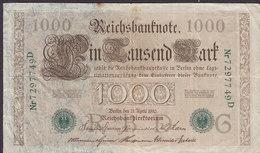 Germany - 1.000 MARK Reichsbanknote Berlin (21-4-1910) Nr. 72977 49 D (2 Scans) - 1918-1933: Weimarer Republik