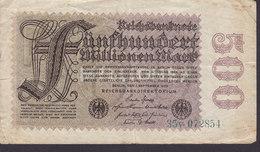 Germany - 500 MARK Reichsbanknote Berlin (1-9-1923) 35v 072854 (2 Scans) - [ 3] 1918-1933 : Repubblica  Di Weimar