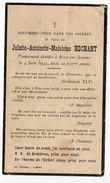 Religion--BRAY SUR SOMME-- Petite Carte ( 6.5cm X 11 Cm) --décès   HOCHART  Juliette-Antoinette-Madeleine 4 Juin 1942--