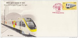 Souvenir Cover, Limited Edition,  Red Cancellation, Transport History, Metro Train 2017 - Eisenbahnen