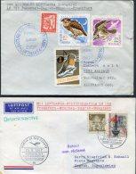 1967 Romania Germany Lufthansa First Flight Covers(2) Bucuresti / Frankfurt. Owl Bubo Bubo, Birds - Lettres & Documents