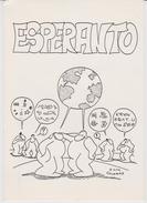 (AKE 122) Esperanto Card From France - World Map - People - 1983 - Esperanto