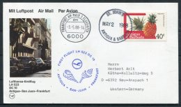 1988 Antigua Germany Lufthansa First Flight Card. St John's - Frankfurt - Antigua And Barbuda (1981-...)