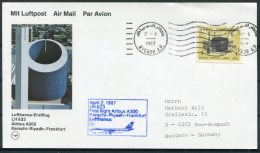 1987 Saudi Arabia Germany Lufthansa First Flight Card. Riyadh - Frankfurt. - Saudi Arabia