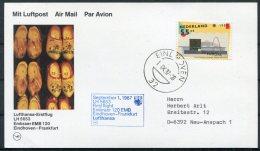 1987 Netherlands Germany Lufthansa First Flight Card. Eindhoven - Frankfurt. Clogs Europa - Airmail