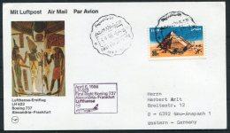 1986 Egypt Germany Lufthansa First Flight Card. Alexandria - Frankfurt. - Luchtpost