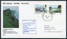 1985 Guernsey Germany Lufthansa First Flight Card - Frankfurt. - Guernsey