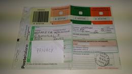 2 Ricevute CAMPIONI MEDICINALI Italia 2001 Pacco Ordinario Bollettino Di Spedizione Pacchi Postali £ 200 Storia Postale - Postal Parcels