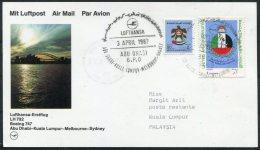 1987 UAE Malaysia Lufthansa First Flight Card. Abu Dhabi - Kuala Lumur / Subang. Sel - Abu Dhabi