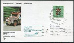 1986 UAE Philipines Lufthansa First Flight Card. Abu Dhabi - Manila - Abu Dhabi