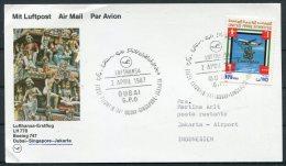 1987 UAE Indonesia Lufthansa First Flight Card. Dubai- Jakarta - Dubai