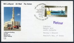 1988 UAE China Lufthansa First Flight Card. Dubai - Beijing - Dubai