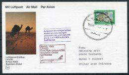 1985 Iraq UAE Lufthansa First Flight Card. Baghdad - Dubai. Camels - Iraq