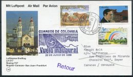 1985 Colombia Venezuela Lufthansa First Flight Card. Bogota - Caracas. Music Rainbow - Colombia