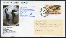 1984 Tanzania Mauitius Lufthansa First Flight Card. Dar-es-Salam / Port Louis - Tanzania (1964-...)
