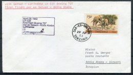 1982 Tanzania Ethiopia Lufthansa First Flight Cover. Dar-es-Salam / Addis Ababa - Tanzania (1964-...)