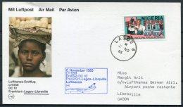 1985 Nigeria Gabon Lufthansa First Flight Card. Lagos - Libreville - Nigeria (1961-...)