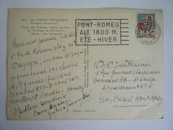 OMEC FONT-ROMEU DATEUR A L'ENVERS FLAMME 2-10-1966 COQ DECARIS ROULETTE  CP CHIENS DES PYRÉNÉES DE L'ERMITAGE FONT-ROMEU - Marcophilie (Lettres)