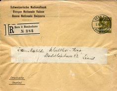 21283 Switzerland,stationery Cover 13r.registered 1915 From Bern To Zurich, Banque Nationale Suisse - Interi Postali
