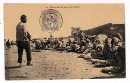 Sur CPA Maroc Type Blanc Surchargé 1 Centimo Cachet Casablanca Trésorerie Et Postes Aus Armées 1910. (1476) - Covers & Documents