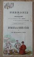 LA LOUVIERE - TB Menu De L'Harmonie Du Hocquet 1902 - TRES RARE - Jeu De Cartes - Menus