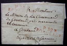 1819 Port Payé De Bordeaux En Rouge Sur Lettre Au Maire De Gontaud (Lot Et Garonne) - 1801-1848: Précurseurs XIX