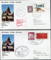 1986 Norway Germany Lufthansa First Flight Cards (2) Oslo / Stuttgart - Poste Aérienne