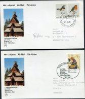1987 Norway Germany Lufthansa First Flight Cards (2) Oslo / Munchen - Poste Aérienne