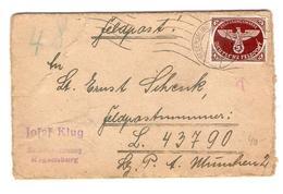 BM Feldpost Auf Karton Regensbug 8/12/1944 Nach Feldpostnummer L.43790 München PR4517 - Deutschland