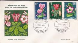 MALI---BAMAKO---23 Dec. 1963--premier Jour---fleurs---enveloppe-voir 2 Scans - Mali (1959-...)
