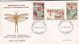 MALI---BAMAKO---15 Juin 1964--premier Jour---contre Le Cirquet Migrateur Africain--enveloppe-voir 2 Scans - Mali (1959-...)